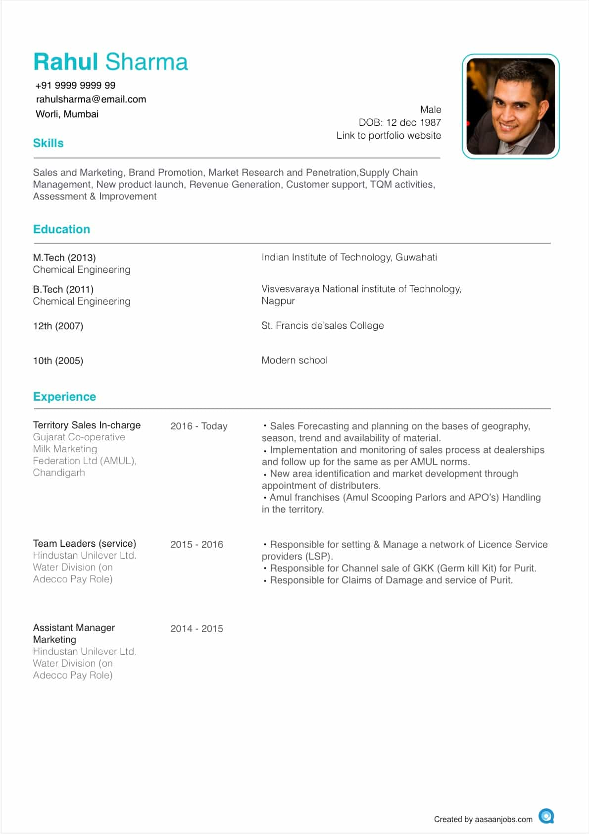 Resume Format | CV Format | Resume Sample at Aasaanjobs